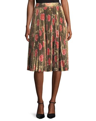 hazy rose pleated lamé a-line skirt