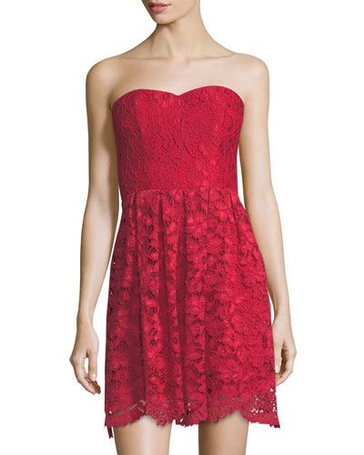 Smitten Strapless Lace Dress