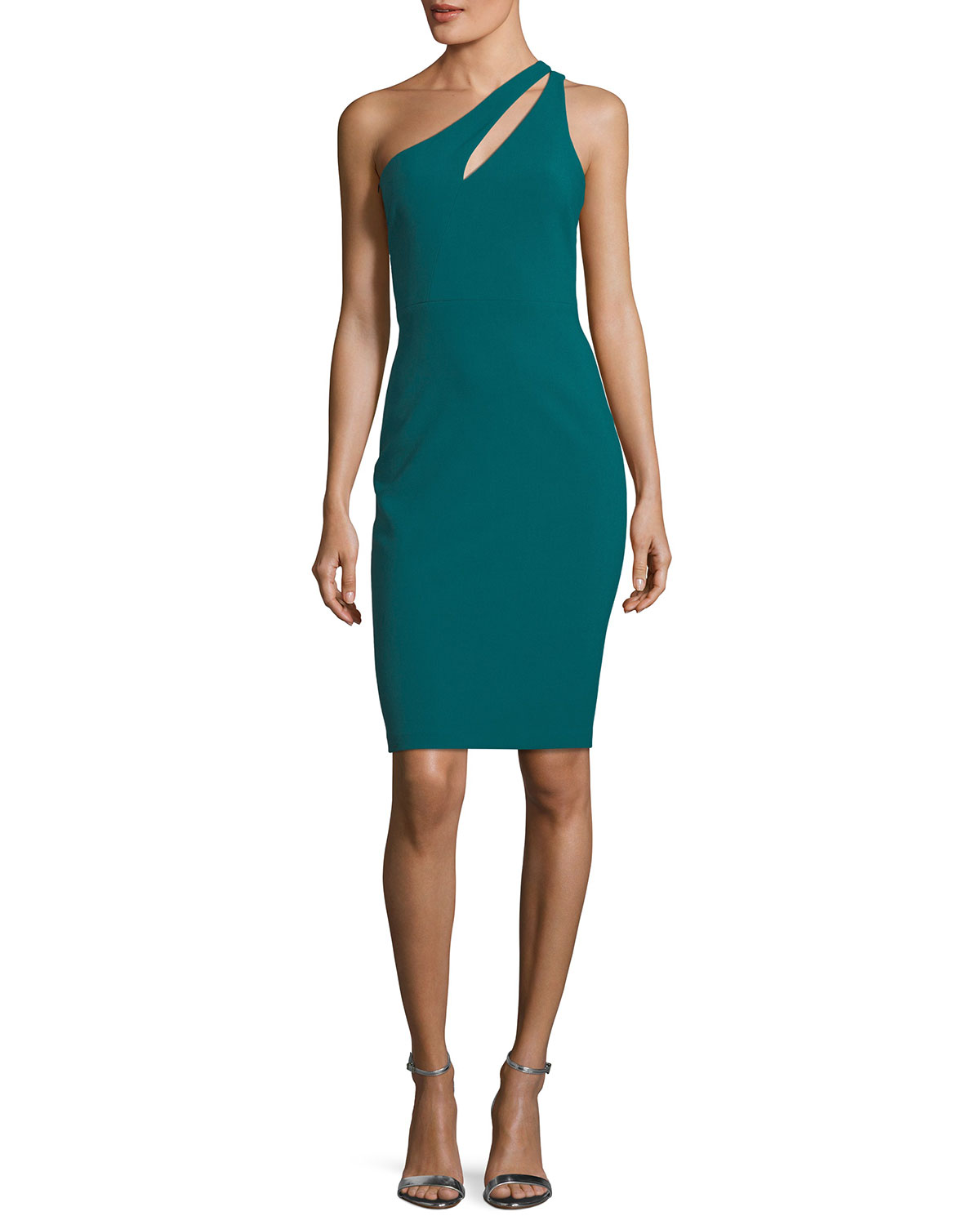 Allison One-Shoulder Ponte Sheath Cocktail Dress
