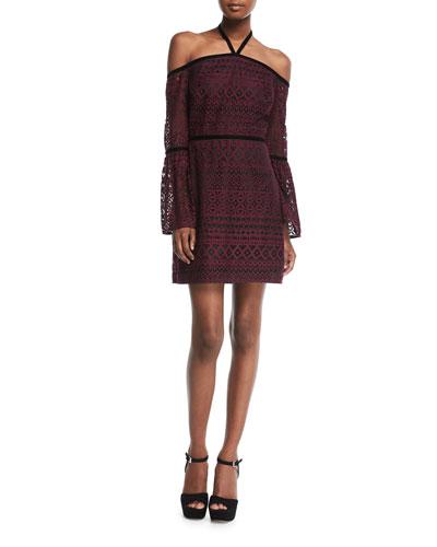 Kakki Off-the-Shoulder Lace Mini Dress