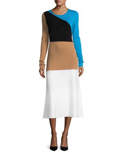 Crewneck Long-Sleeve Flare Knit Midi Dress