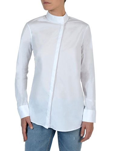 Long-Sleeve Asymmetric Button-Front Poplin Blouse