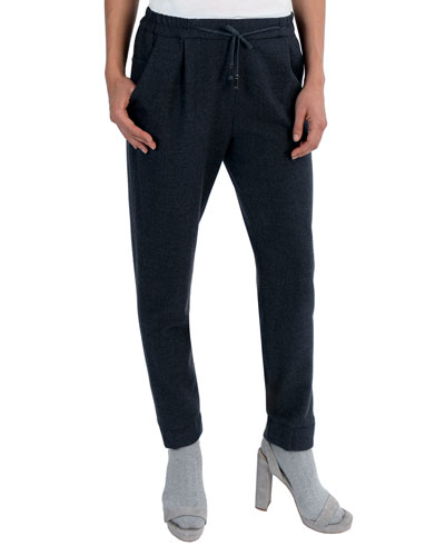 Stretch-Wool Drawstring Jogger Pants