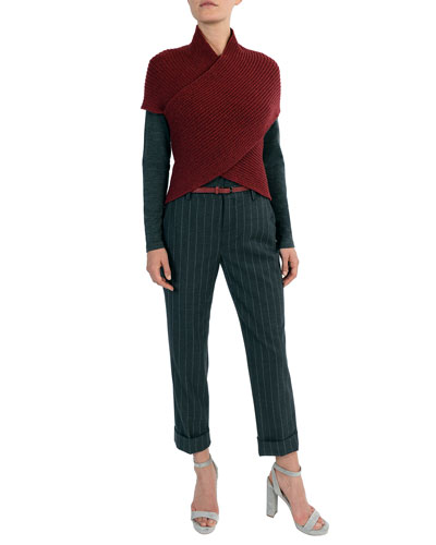 Ribbed Wool-blend Crisscross Pullover