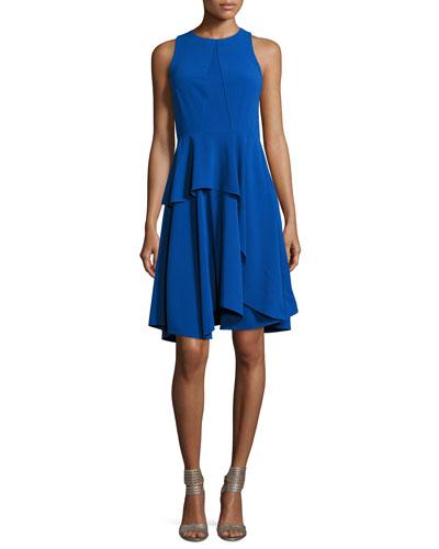 Sleeveless Round-Neck Sheer-Insert Crepe Cocktail Dress