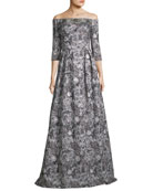 Off-the-Shoulder Metallic Brocade 3/4 Sleeve Evening Gown