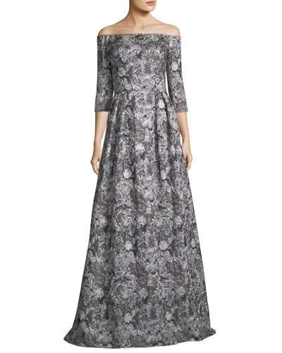 Off-the-Shoulder Metallic Brocade 3/4 Sleeve Evening Gown