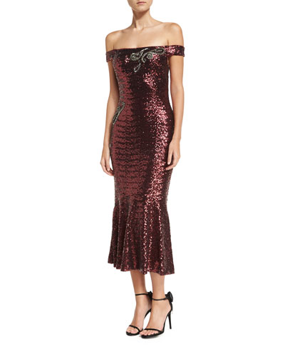 Off-the-Shoulder Fitted Sequin Cocktail Dress