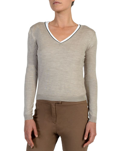 V-Neck Wool-Blend Sweater