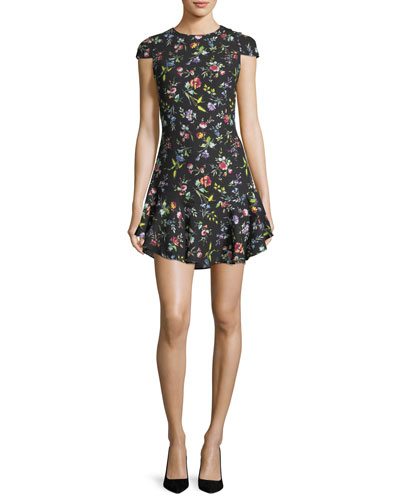Belle Bright Botanical Cap-Sleeve Mini Dress