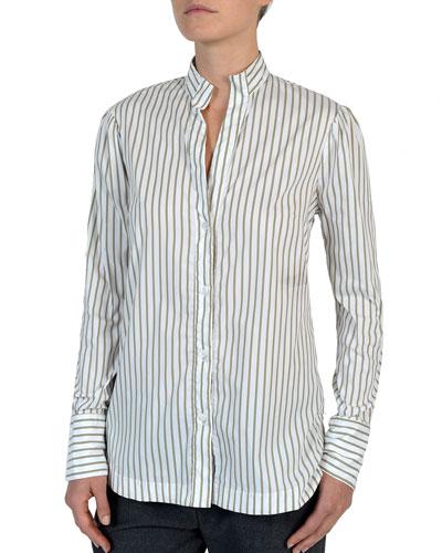 Striped Stretch-Cotton Poplin Button-Front Shirt
