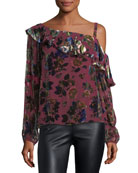 One-Shoulder Floral-Burnout Velvet Ruffled Top