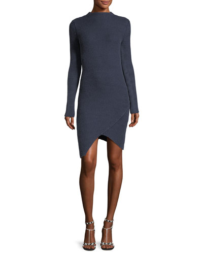 Textured Long-Sleeve Asymmetric Dress