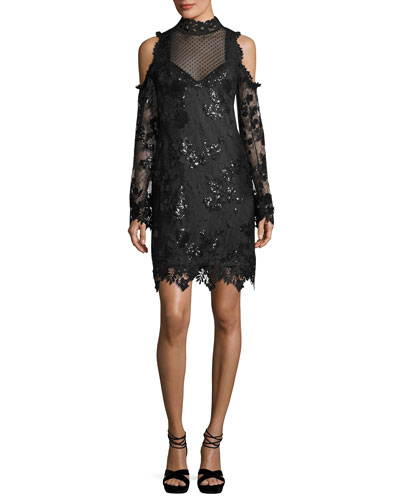 Corine Cold-Shoulder Sequin Lace Cocktail Dress