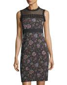 Adela Floral-Jacquard Sleeveless Sheath Dress w/ Lace Inset