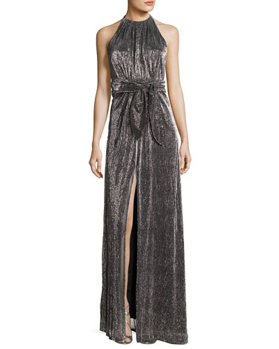 Sleeveless Halter-Neck Textured Metallic Evening Gown
