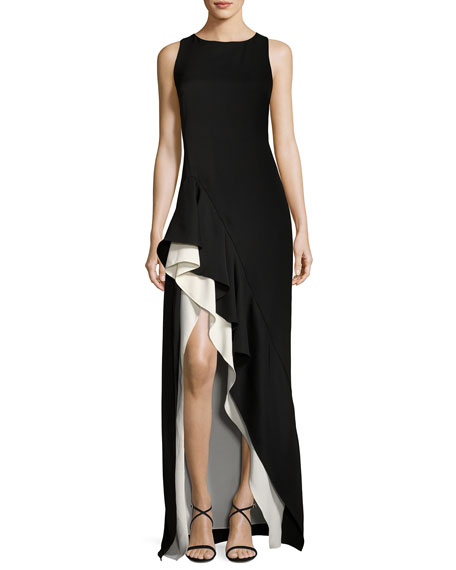 Halston Sleeveless Boat-Neck Colorblocked Asymmetric Flounce-Skirt Gown