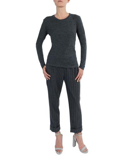 Long-Sleeve Crewneck Stretch-Wool T-Shirt