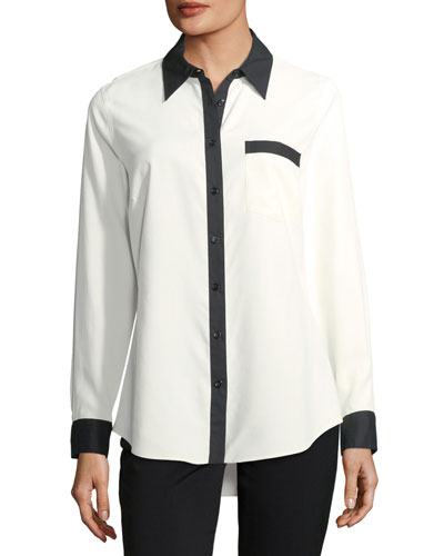 Contrast-Placket Silk Shirt