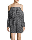 Cold-Shoulder Dot-Print Romper