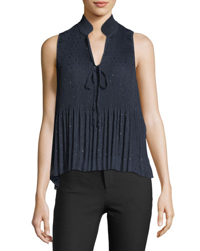 Sleeveless Split-Neck Pleated Top