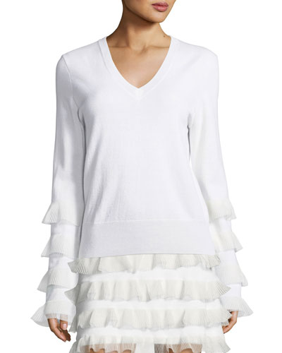 V-Neck Long-Sleeve Wool Sweater w/ Ruffled Trim
