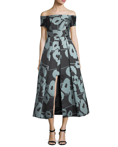 Julia Off-the-Shoulder Poppy Floral-Print Cocktail Dress
