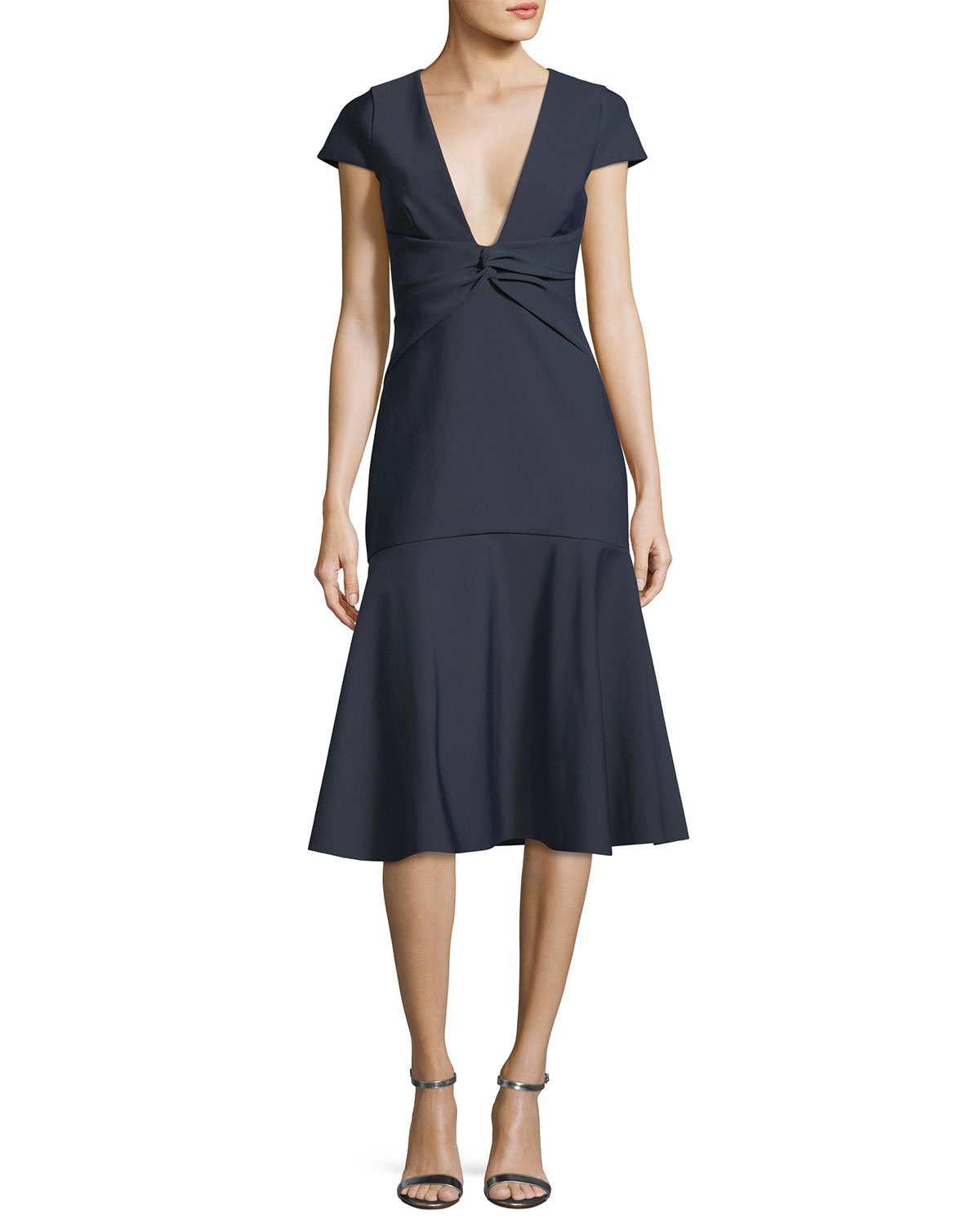Bella Short-Sleeve Plunging V-Neck Tech Stretch Cocktail Dress