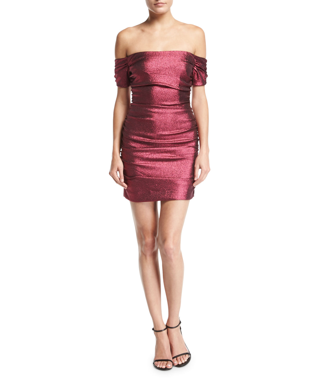 Tessa Ruched Stretch-Lurex Cocktail Dress