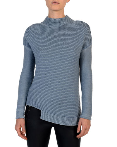 Mock-Neck Garment-Dyed Wool Sweater
