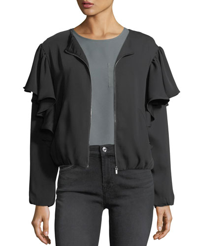 Ruffled Satin Zip-Front Jacket
