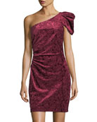 One-Shoulder Velvet Mini Cocktail Dress