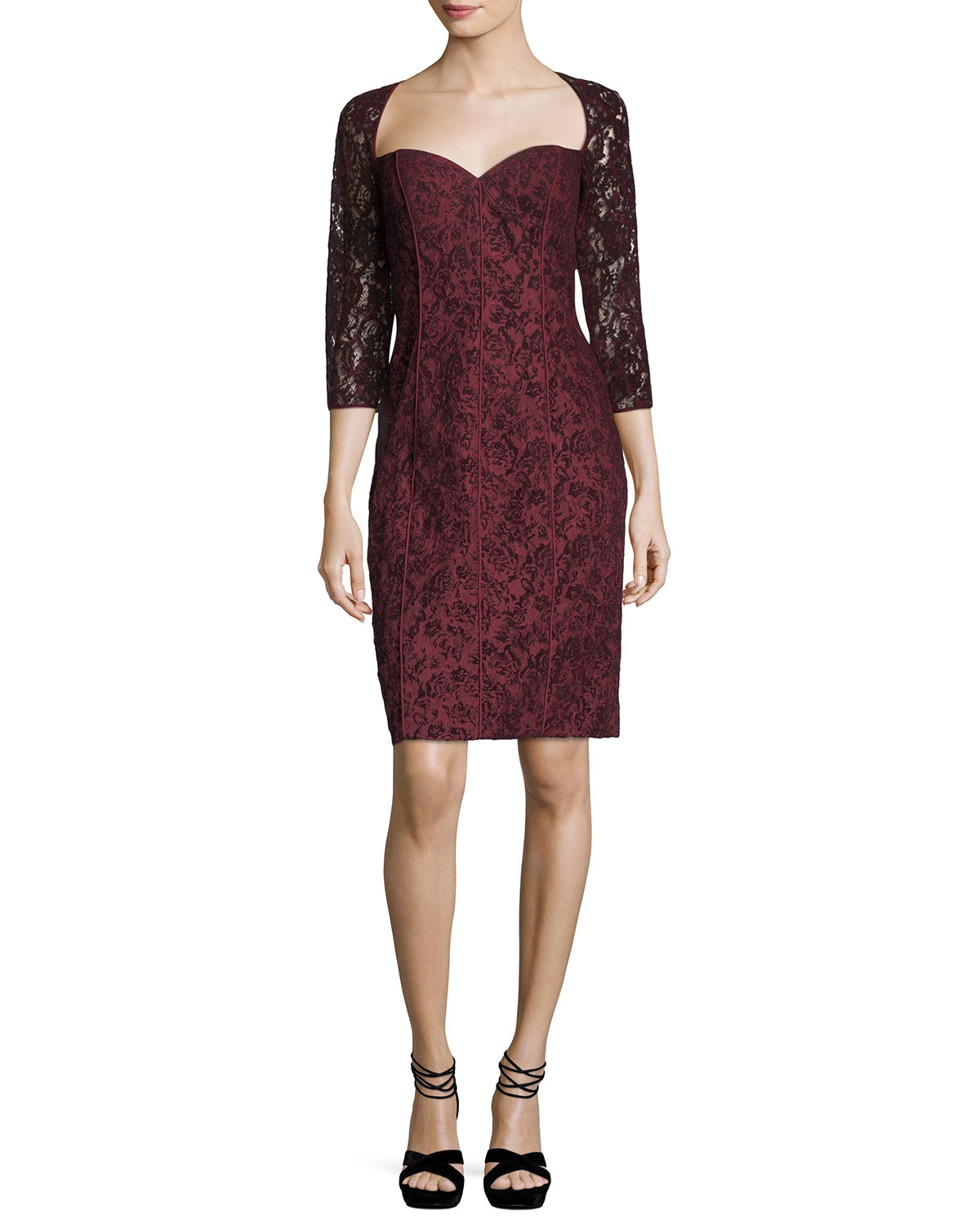 Sweetheart-Neck Lace Cocktail Dress
