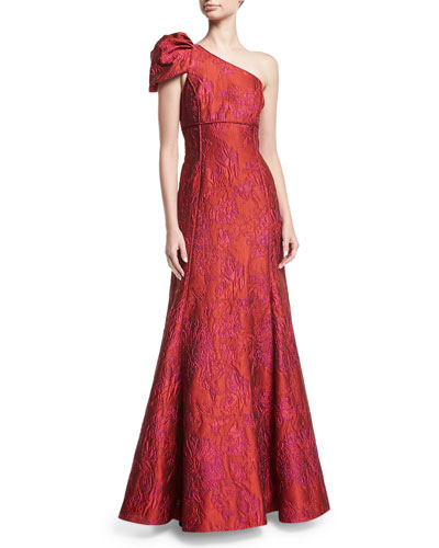 One-Shoulder Jacquard Evening Gown
