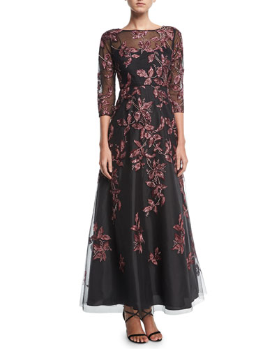 Beaded Embroidered Long-Sleeve Illusion Evening Gown