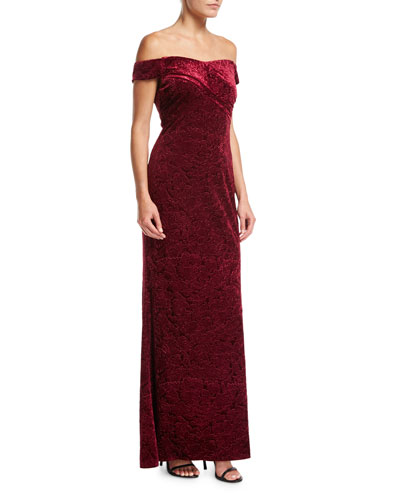 Off-the-Shoulder Embossed Velvet Evening Gown