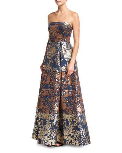 Strapless Animal-Print Metallic Brocade Evening Gown