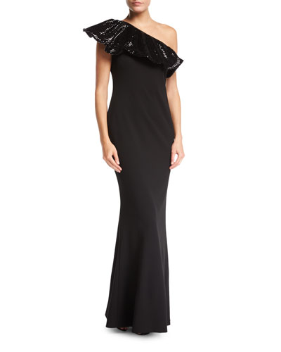 One-Shoulder Sequin & Crepe Column Evening Gown