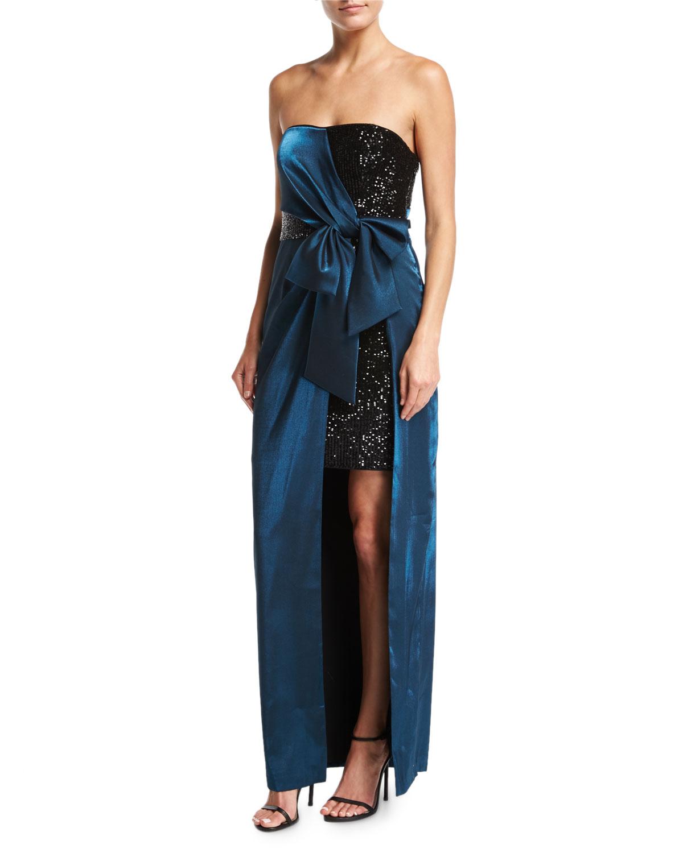 Strapless Sequin Short Dress w/ Satin Gown Overlay