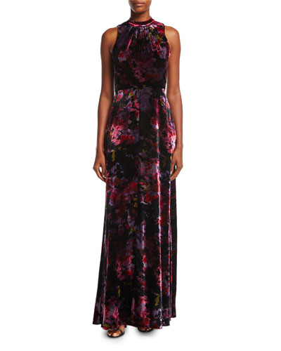 Mock-Neck Sleeveless Floral-Print Velvet Evening Gown
