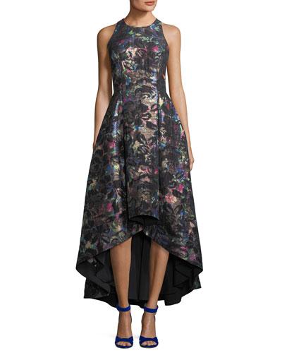 Sleeveless Printed Jacquard Metallic High-Low Dress
