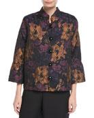 Festive Floral Bell-Sleeve Jacket, Plus Size
