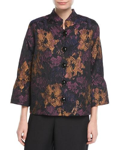 Festive Floral Bell-Sleeve Jacket