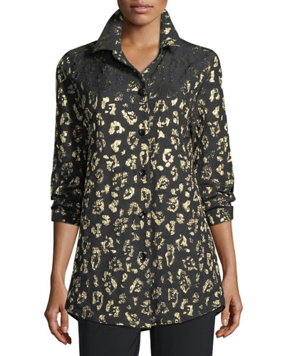 Golden Leopard-Print Boyfriend Shirt, Plus Size