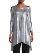 Reflection-Knit Cold-Shoulder Tunic, Petite