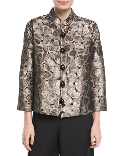 Mod Metallic Easy Mandarin Jacket, Plus Size