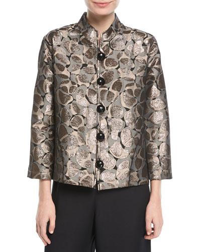 Mod Metallic Easy Mandarin Jacket, Plus Size