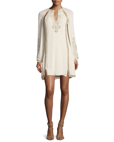 Galaxy Cutout Long-Sleeve Embellished Cocktail Dress