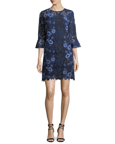 Jemima Bell-Sleeve Lace Shift Dress