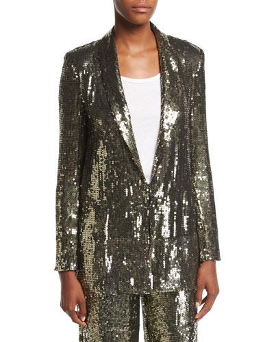 Jace Sequin Shawl-Collar Oversized Blazer